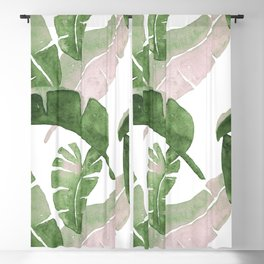 Tropical Leaves Green And Pink Blackout Curtain