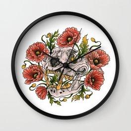 Skull and poppys Wall Clock