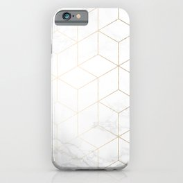 Gold Geometric White Mable Cubes iPhone Case