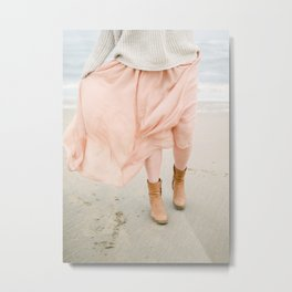 Coastal photography of a woman holding her flowy skirt at the beach. Pastel colored print Metal Print