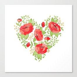 Rose Heart watercolor Canvas Print