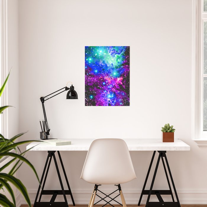 Fox Fur Nebula Galaxy Pink Purple Blue Poster