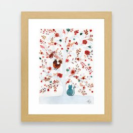 Nina the cat and the chicken Framed Art Print