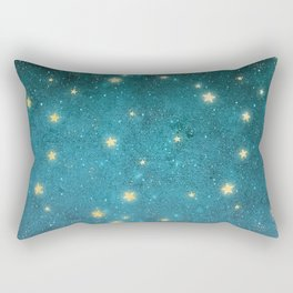 Turquoise Night Sky With Gold Stars Pattern Rectangular Pillow