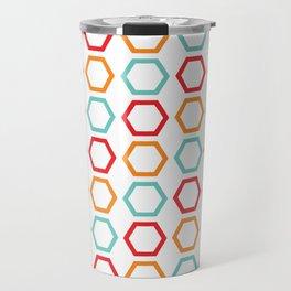Red, Orange, & Blue Hexagons on White Travel Mug
