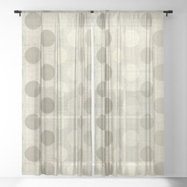 """Nude Burlap Texture and Polka Dots"" Sheer Curtain"