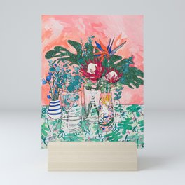 Cockatoo Vase - Bouquet of Flowers on Coral and Jungle Mini Art Print