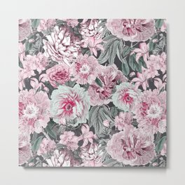 Nostalgic Flower Pattern Teal And Pink Metal Print
