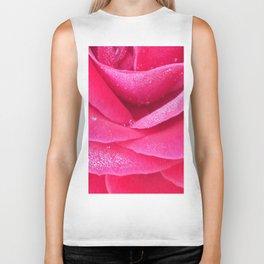Dew on pink rose petals macro Biker Tank