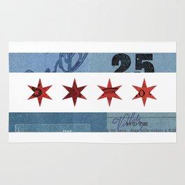 Ephemeral Chicago Flag Rug