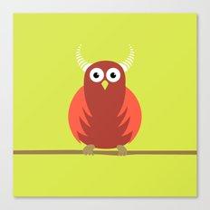 Red Cartoon Horned Owl Canvas Print