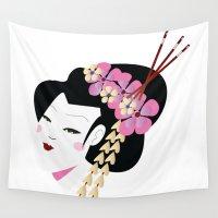 geisha Wall Tapestries featuring Geisha by Cs025