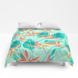 Birds Of Paradise Mint Comforters