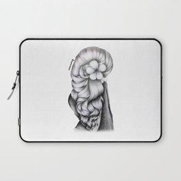 Black & White Pencil Sketch - Wavy Hair Flower Girl Laptop Sleeve