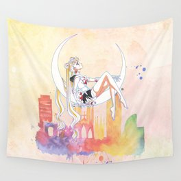 Can not Fight The Moonlight Watercolor Version Wall Tapestry