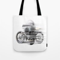 cafe racer Tote Bags featuring SKULL AND CAFE RACER by Joedunnz