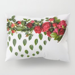 Reative image of white cup with red roses Pillow Sham