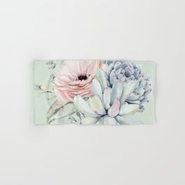 Delightful Mint + Pink Succulents Hand & Bath Towel
