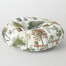 Adolphe Millot - Arbres B - French vintage botanical poster Floor Pillow