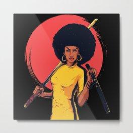Afro Woman Warrior Metal Print