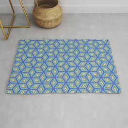 Blue and Gold Tilted Cubes Pattern Rug