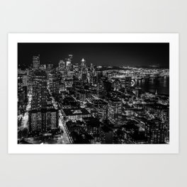 Seattle from the Space Needle in Black and White Art Print