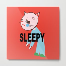 SLEEPY FASHIONISTA CATS Metal Print
