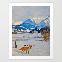 Jugend-Munich illustrated weekly for art and life - 1906 Cold Climate Snow Mountains Fox Art Print