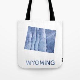 Wyoming map outline Blue watercolor Tote Bag