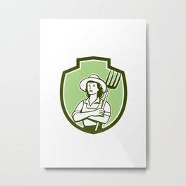 Female Organic Farmer Pitchfork Shield Retro Metal Print