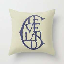 Vintage Cleveland Typography (Light) Throw Pillow