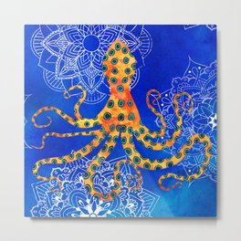 Watercolor Blue Ringed Octopus Mandalas Pattern Metal Print