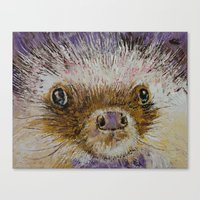 hedgehog Canvas Prints featuring Hedgehog by Michael Creese