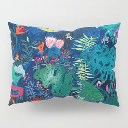 Brightly Rainbow Tropical Jungle Mural with Birds and Tiny Big Cats Pillow Sham