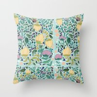 flower pattern Throw Pillows featuring Flower Pattern by Jo Cheung Illustration
