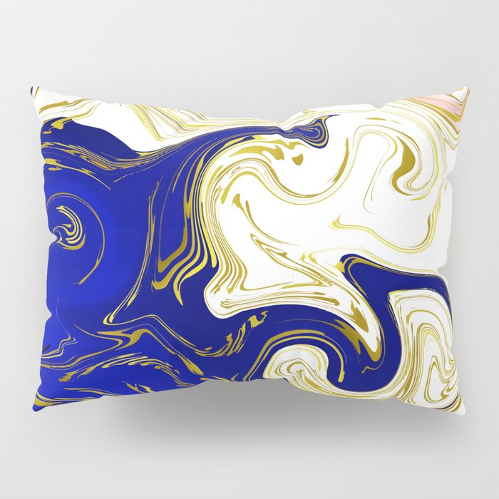 blue ,gold,rose,black,golden fractal, vibrations, circles modern pattern, Pillow Sham