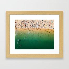 People Having Fun On Beach, Digital Download, Aerial Drone Photography, Printable Ocean Photography Framed Art Print
