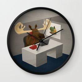 Maurice, the moose who wanted to work in an office Wall Clock