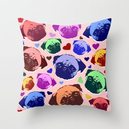 Pug Puppy Dog Love Hearts Pattern Throw Pillow