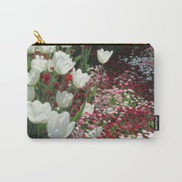White tulips and common daisies Carry-All Pouch