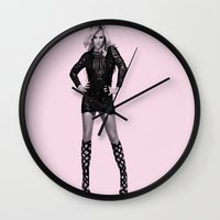 britney Wall Clocks featuring Britney by Dora Birgis