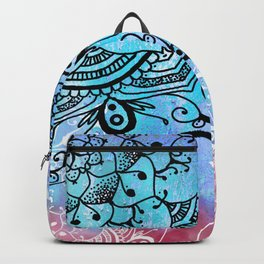 Bohemian Secret Blue & Pink Mandala Design Backpack
