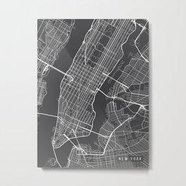 New York City Map, Manhattan New York USA - Charcoal Portrait Metal Print