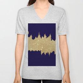 Modern abstract navy blue gold glitter brushstrokes Unisex V-Neck