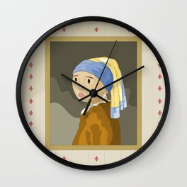 Girl with pearl by Vermeer  Wall Clock