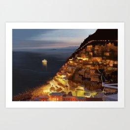 Positano Night Art Print