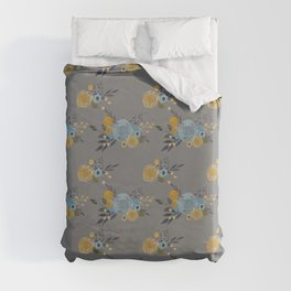 Roses and Billy Buttons - Gray Background - Floral Watercolor Pattern Duvet Cover