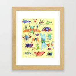 Beautiful Beetles on Yellow Framed Art Print