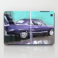 muscle iPad Cases featuring The purple muscle car by mystudio69