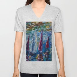 Sails To-night oil painting with Palette Knife Unisex V-Neck